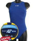 opruiming showmodel Waterpolo badpak FR34-D32-XS Epsan blauw+gratis waterpolobal_