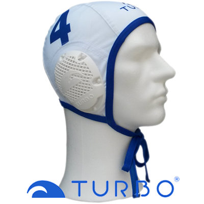 *populair* Turbo Waterpolo Cap (size m/l) Professional wit nummer 4