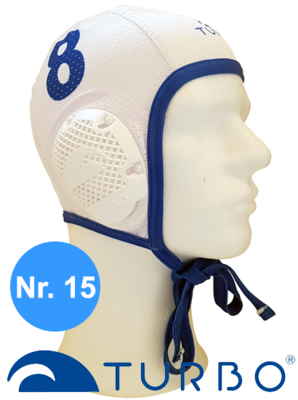 *Special Made* Turbo Waterpolo cap (size m) New Generation wit nummer 15