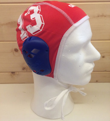 *showmodel* Arena waterpolo cap (size s/m) keeper rood wit nummer 13