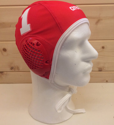 *showmodel* Arena waterpolocap (size m/l) keeper wit nummer 1 op=op